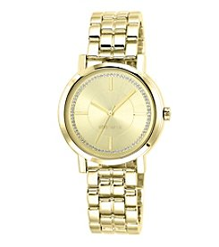 Nine West® Glitter Accented Champagne Dial Goldtone Bracelet Watch