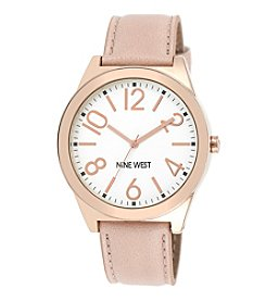 Nine West® Rose Goldtone and Blush Strap Watch
