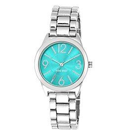 Nine West® Turquoise Dial Silvertone Bracelet Watch