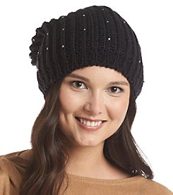 Betsey Johnson® Solid Beaded Slouchy Beanie Hat