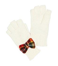 Betsey Johnson® Plaid Bow Fingerless Gloves