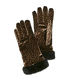 Cejon® Animal Print Velvet Gloves with Faux Fur Cuff