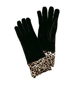 Cejon® Solid Velvet Gloves with Leopard Cuff