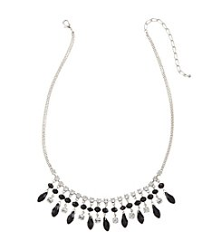BT-Jeweled Jet and Crystal Faceted Shaky Necklace