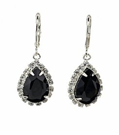 BT-Jeweled Jet and Crystal Euro Teardrop Earrings
