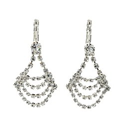 BT-Jeweled Crystal Euro Wire Draped Earrings