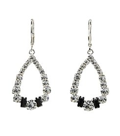 BT-Jeweled Jet and Crystal Open Teardrop Earrings