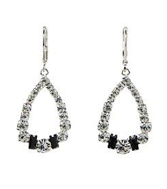 BT-Jeweled Jet and Crystal Open Teardrop Earrings