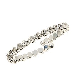 BT-Jeweled Crystal One Row Large Coil Bracelet
