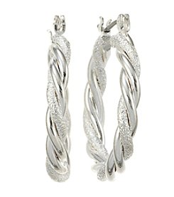 Studio Works® Silvertone Twisted Hoop Earrings