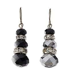 BT-Jeweled Jet and Silvertone Faceted Snowman Drop Earrings