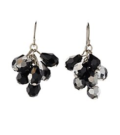 BT-Jeweled Jet and Silvertone Faceted Cluster Earrings