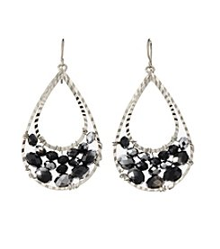 BT-Jeweled Jet and Silvertone Beaded Teardrop Earrings