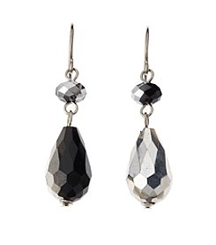 BT-Jeweled Jet and Silvertone Two Bead Drop Earrings