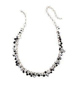 BT-Jeweled Jet and Silvertone Faceted Cluster All Over Necklace