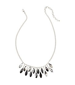 BT-Jeweled Jet and Silvertone Pear Shaped Faceted Necklace