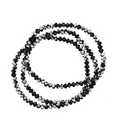 BT-Jeweled Three Row Jet and Silvertone Faceted Stretch Bracelet