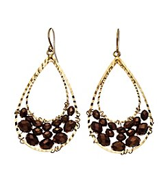 BT-Jeweled Bronze Faceted Teardrop Earrings