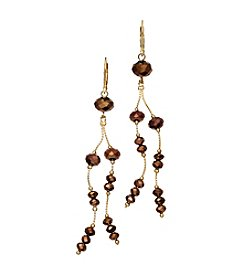 BT-Jeweled Bronze Faceted Two-Row Linear Drop Earrings
