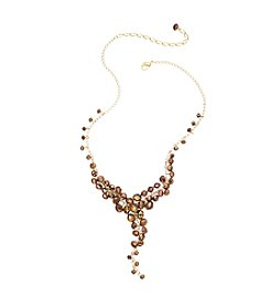 BT-Jeweled Bronze Faceted Shaky Y-Necklace