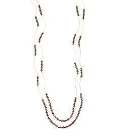 BT-Jeweled Bronze Faceted Two Row Beaded Strand Necklace