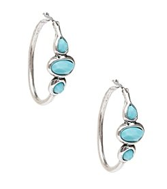 Lucky Brand® Silvertone Turquoise Stone Hoop Earrings