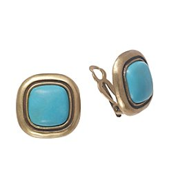 Lauren Ralph Lauren Turquoise/Goldtone Bezel Set Clip Earrings