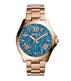 Fossil® Women's Cecile Watch with Rose Goldtone Bracelet & Multicolored Blue Pave Dial
