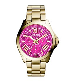 Fossil® Women's Cecile Watch with Goldtone Bracelet & Multicolored Pink Pave Dial