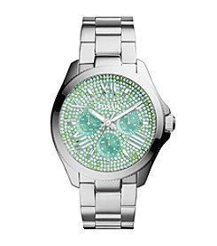 Fossil® Women's Cecile Watch with Silvertone Bracelet & Multicolored Green Pave Dial