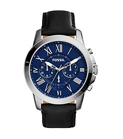 Fossil® Men's Grant Black Leather Watch with Blue Dial