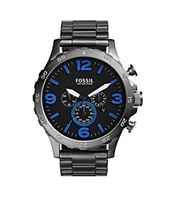 Fossil® Men's Nate Watch in Smoke Tone Bracelet with Blue Accents on Dial
