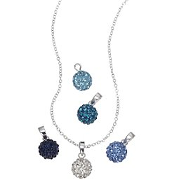 Napier® Boxed Blue Pave Pendant Necklace with Changeable Charms