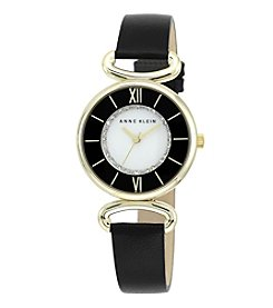 Anne Klein® Detailed Leather Watch