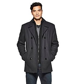Kenneth Cole® Men's Wool Peacoat With Bib