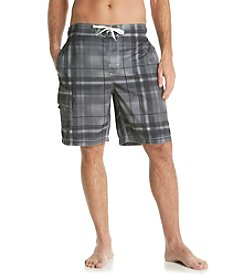 Paradise Collection® Men's Black Plaid Swim Short