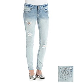Wallflower® Destructed Bling Pocket Skinny Jeans