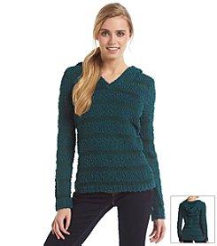Love Always Textured Stripe Popcorn Hoodie Sweater