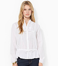 Lauren Jeans Co.® Lace Trim Cotton Top