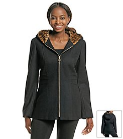 Anne Klein® Coat With Faux Leopard Print Hood