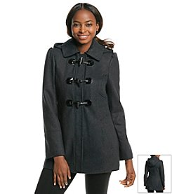 GUESS Hooded Coat With Faux Leather Toggles