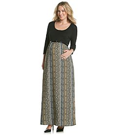 Three Seasons Maternity™ Women's Solid Top Print Maxi Dress