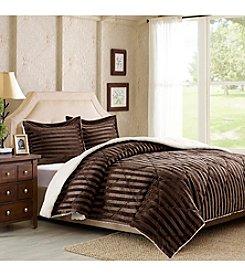 Premier Comfort Lamont Dobby Stripe Mink Reversible Berber Mini Comforter Set