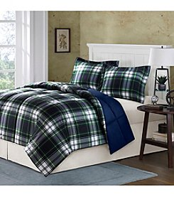 Comfort Classics Parkston Navy Plaid Down-Alternative Mini Comforter Set