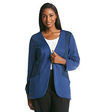 Notations® Plus Size Textured Front Panel Jacket