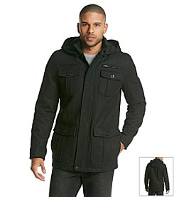 GUESS Men's Wool Four Flap Pocket Coat