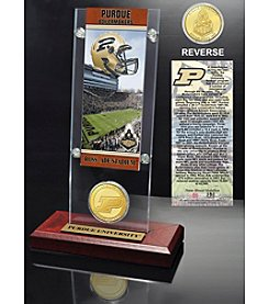 NCAA® Purdue University Ticket and Bronze Coin Desktop Acrylic