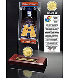NCAA® University of Kansas Basketball 3-Time National Champs Ticket and Bronze Coin Desktop Acrylic