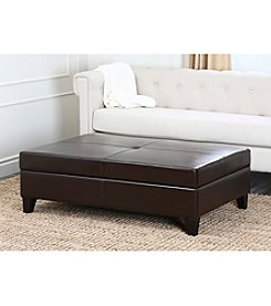 Abbyson Living® Frankfurt Leather Storage Flip-Top Ottoman
