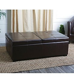 Abbyson Living® Sheffield Bicast Leather Double Flip-top Storage Ottoman